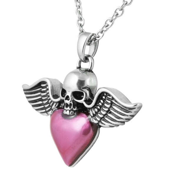 Winged Skull & Heart Necklace