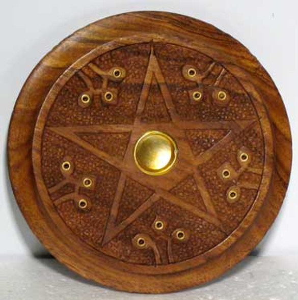 Wooden Pentagram Incense stick & cone burner