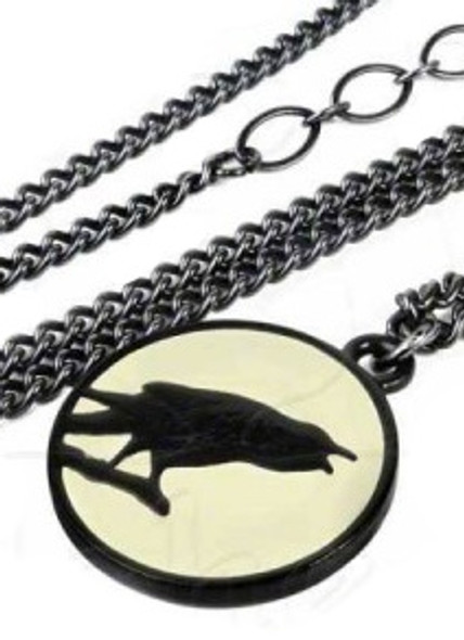 caw at the moon raven necklace