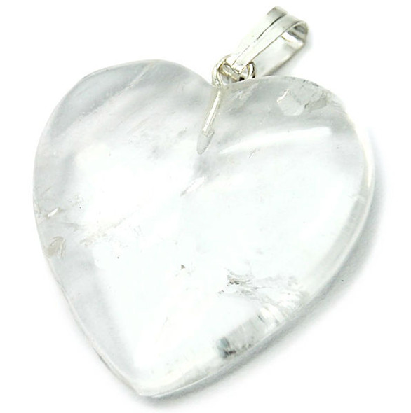 Genuine clear quartz heart necklace