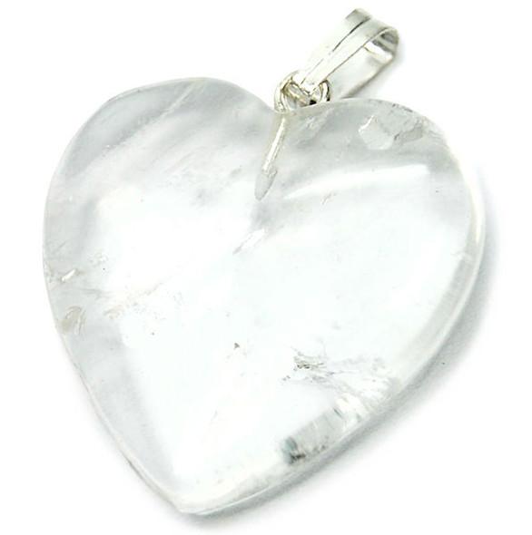Genuine clear quartz heart necklace