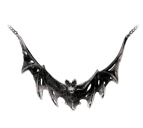Blackened battered bat necklace by alchemy gothic