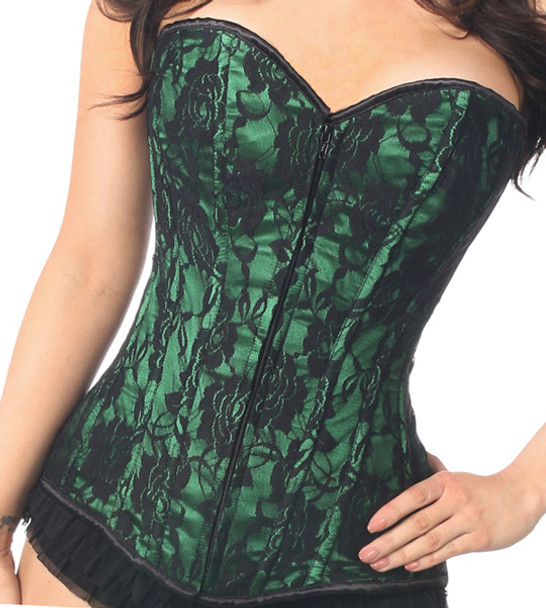 Emerald green lace corset front view