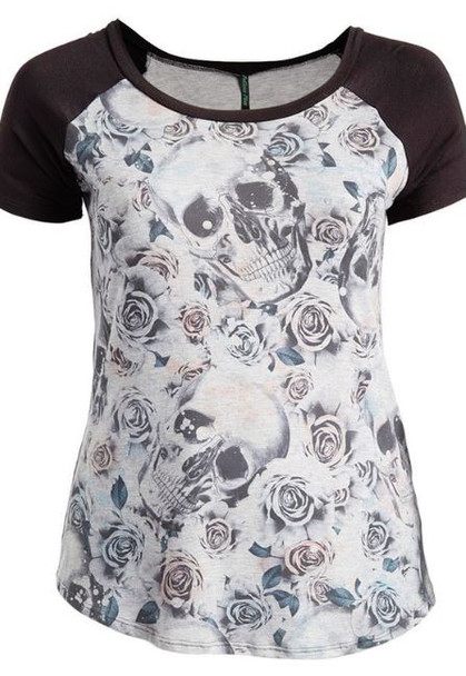 skulls and roses raglan top front view