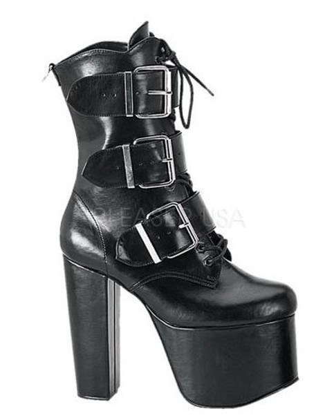 Platform ankle boots with buckles