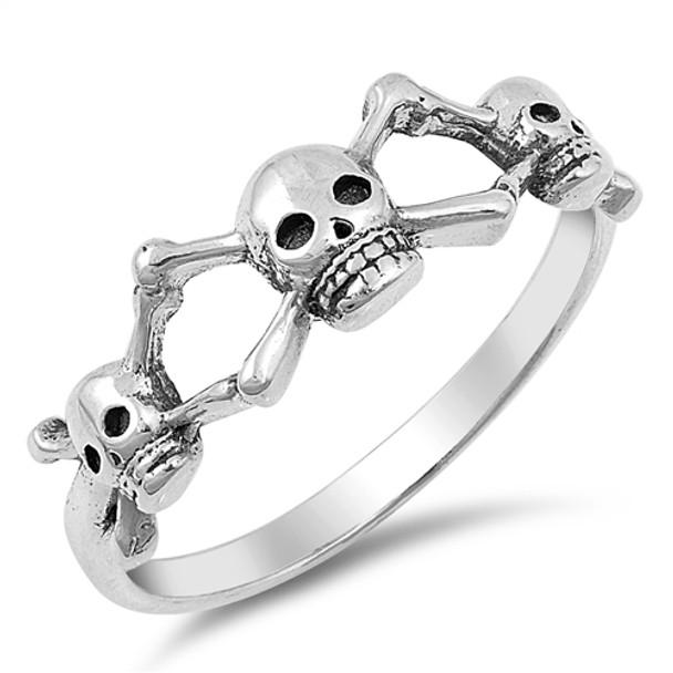 skull and crossbones silver ring