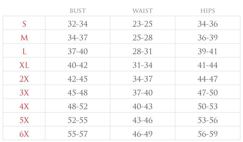 corset size chart