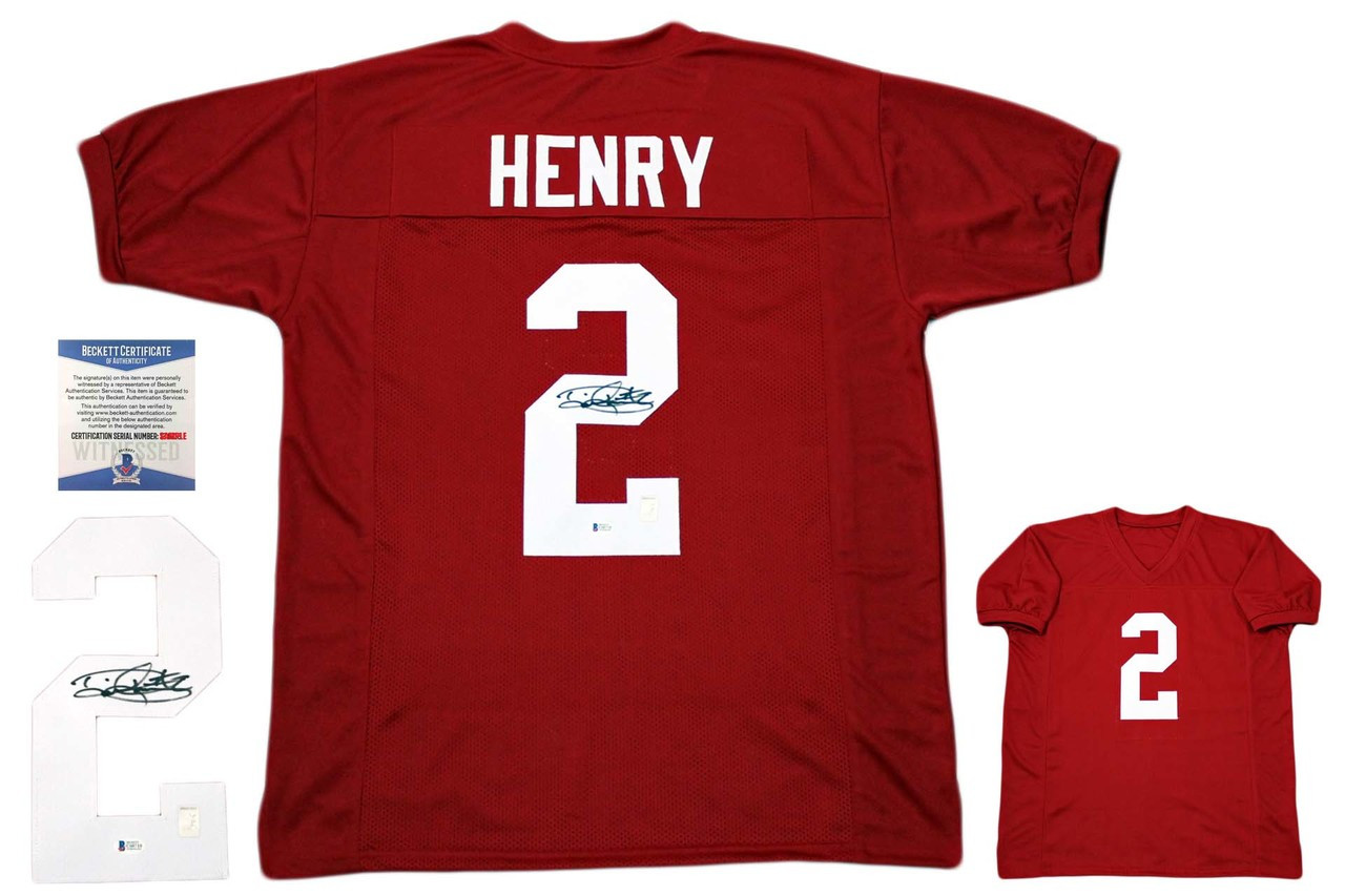 designer fashion e4af0 c9b4c Derrick Henry Autographed Signed Jersey - Beckett Authentic - Crimson
