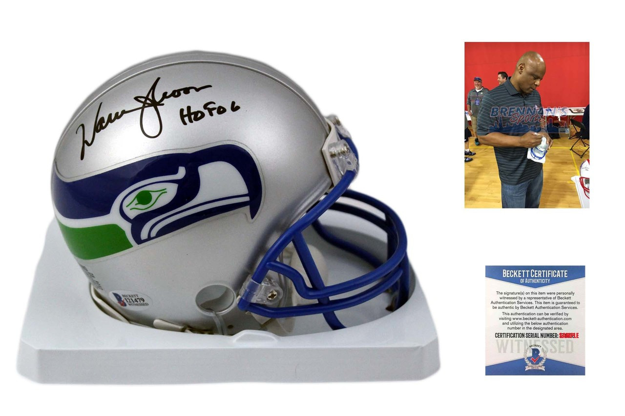 Warren Moon Autographed Seattle Seahawks Mini Helmet Beckett