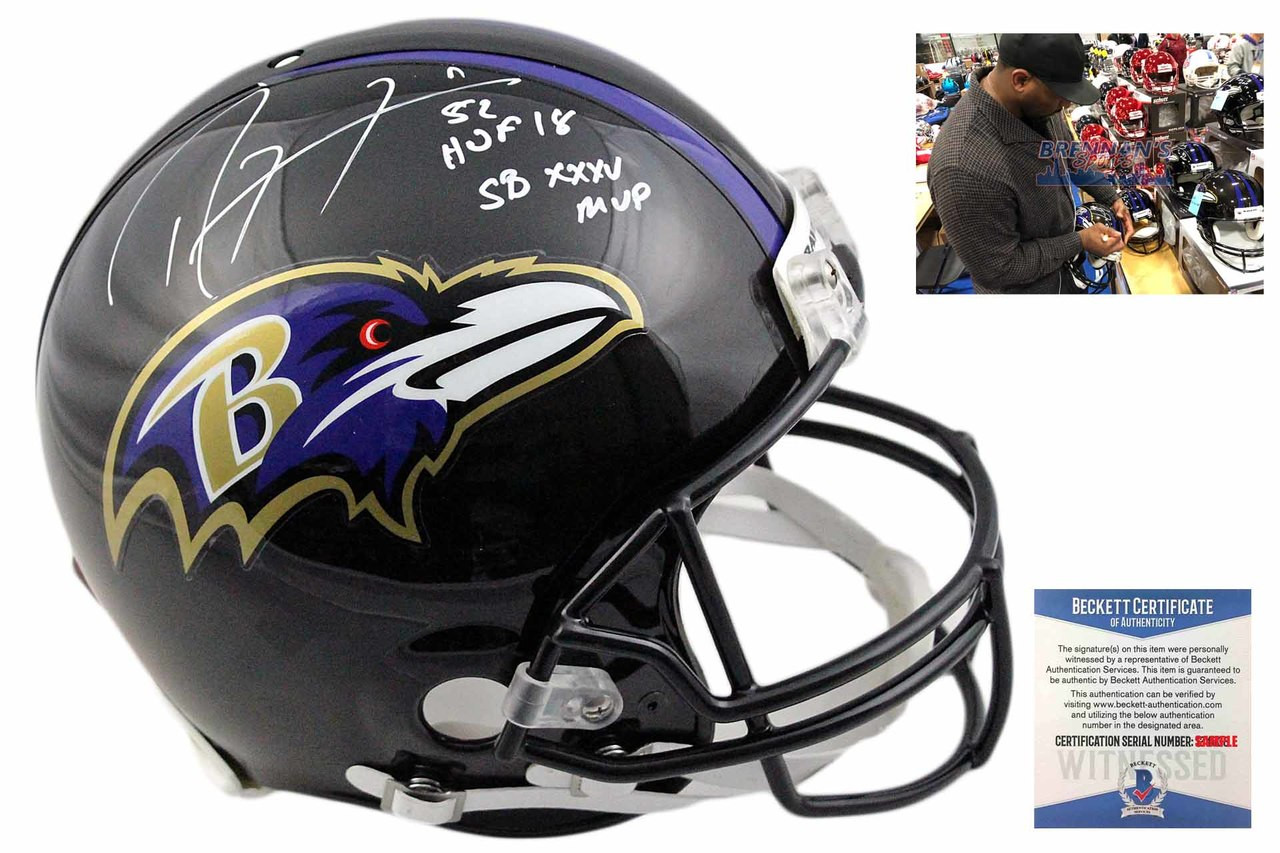 bd5dab84d Ray Lewis Autographed Baltimore Ravens Full Size Authentic Helmet ...