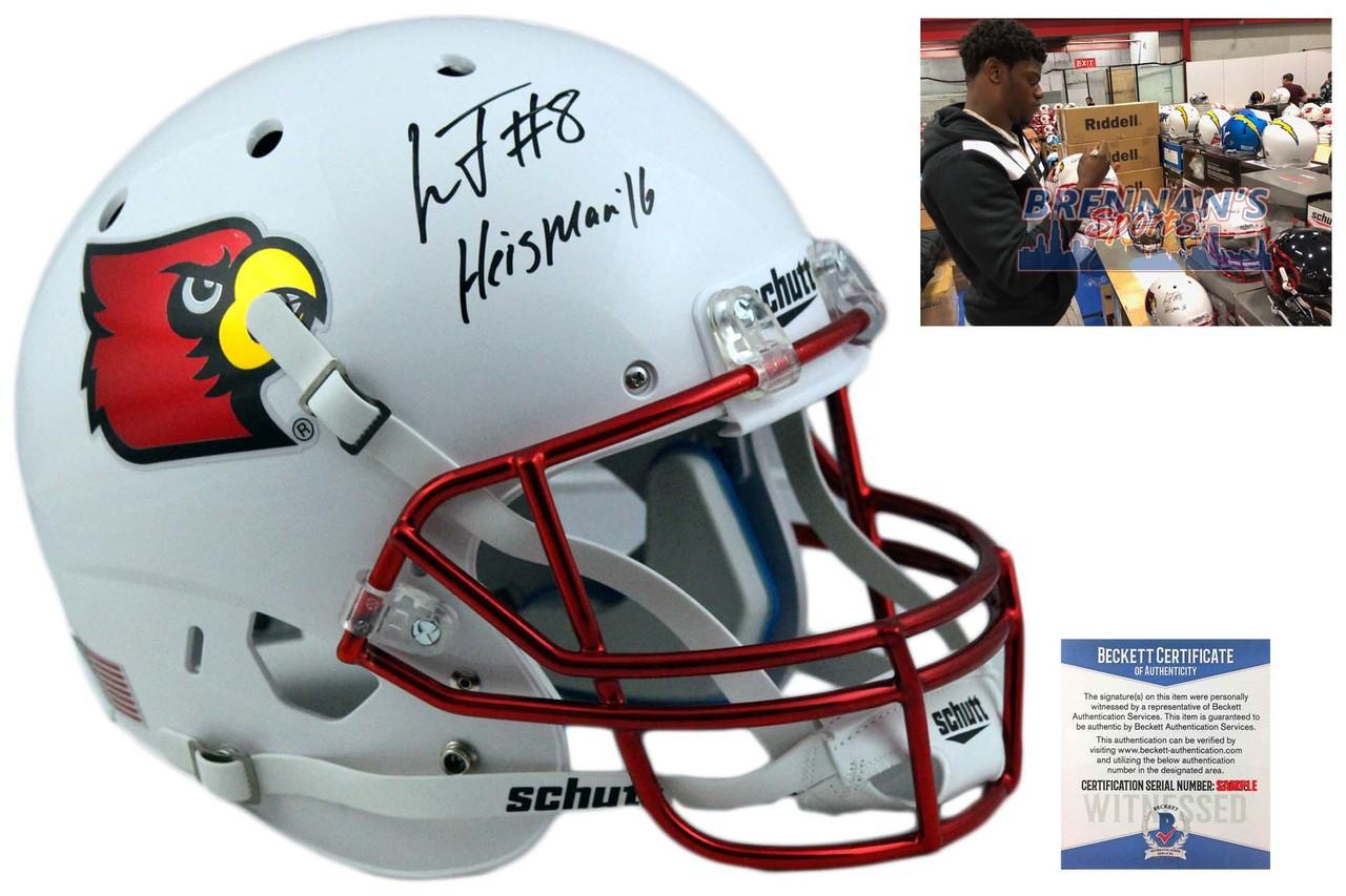 c2894c51c Lamar Jackson Autographed Louisville Full Size Helmet - Chrome Mask ...