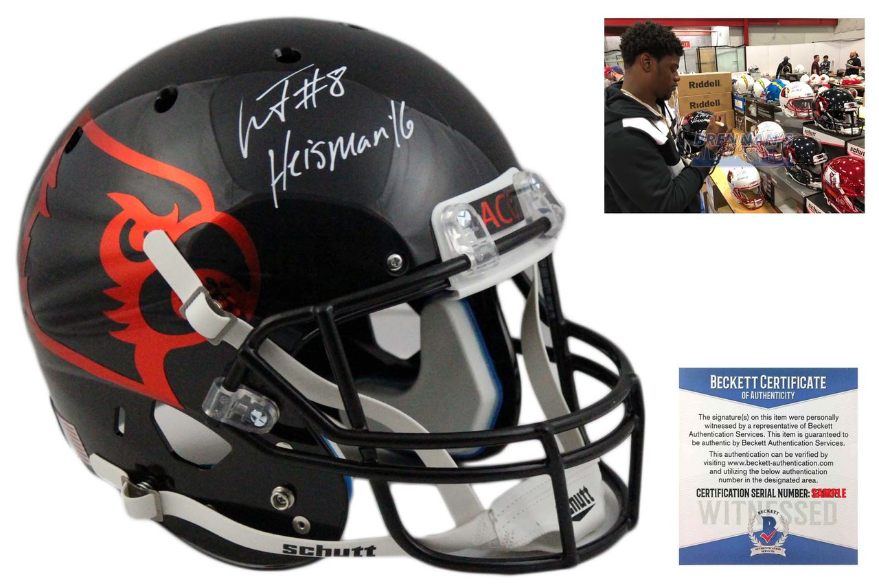a3ca19a39 JSA Lamar Jackson Autographed Louisville Cardinals Custom Red Football  Jersey College-NCAA