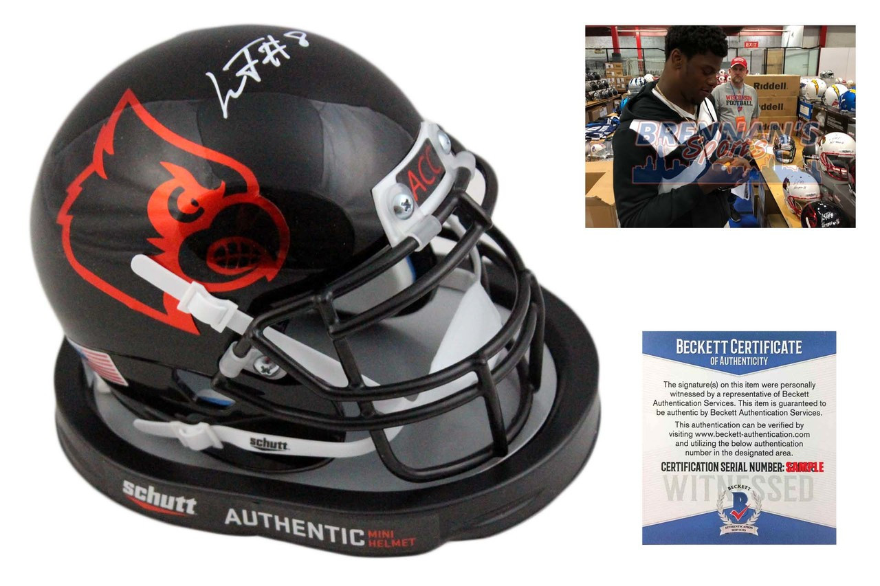 490cc04f3 Lamar Jackson Autographed Louisville Cardinals Mini Helmet - Black ...