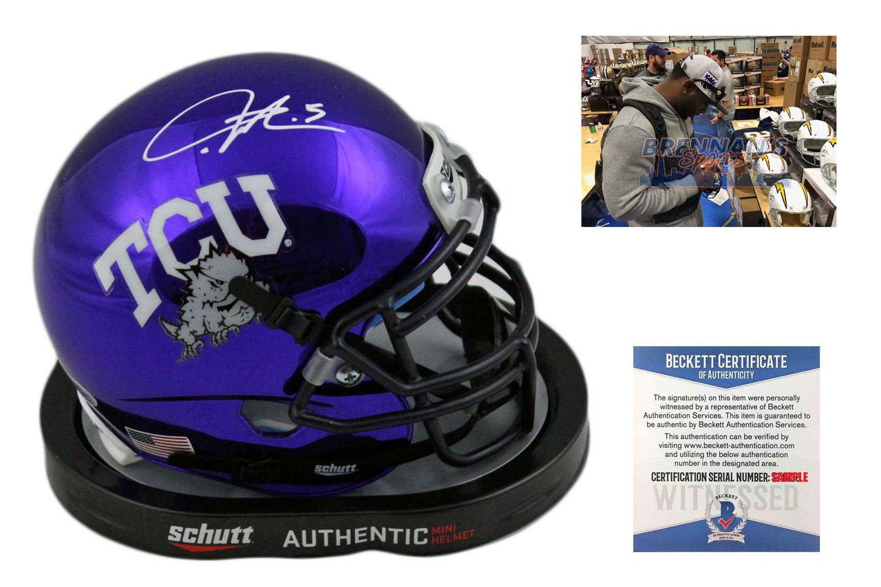 online store 8aed1 a889c Ladainian Tomlinson Autographed TCU Horned Frogs Chrome Mini Helmet -  Beckett