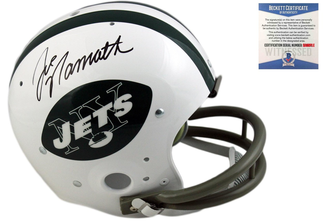 b89d9c81261 Joe Namath Autographed New York Jets TK 2-Bar Helmet - Beckett ...