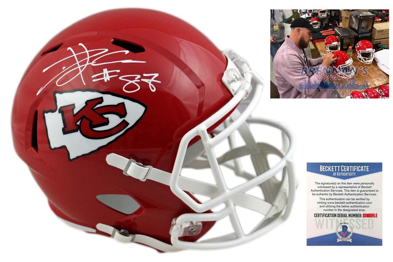 4d39e8cc Travis Kelce Autographed Helmet - Kansas City Chiefs Signed - Beckett