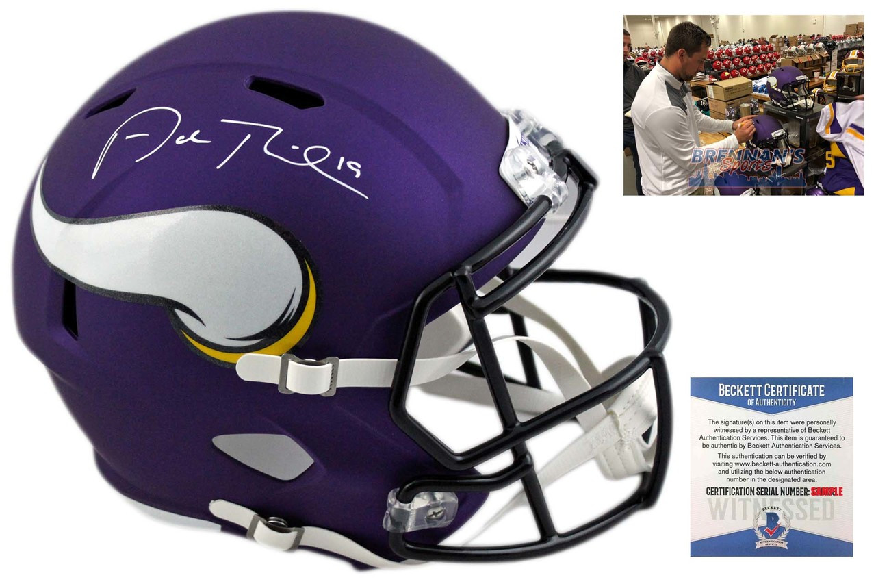 lowest price 176d4 16cf1 Adam Thielen Autographed Helmet - Minnesota Vikings Signed - Beckett