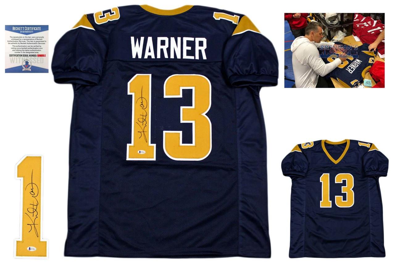 1fa3651f Kurt Warner Signed Jersey - Beckett Authentic - Navy