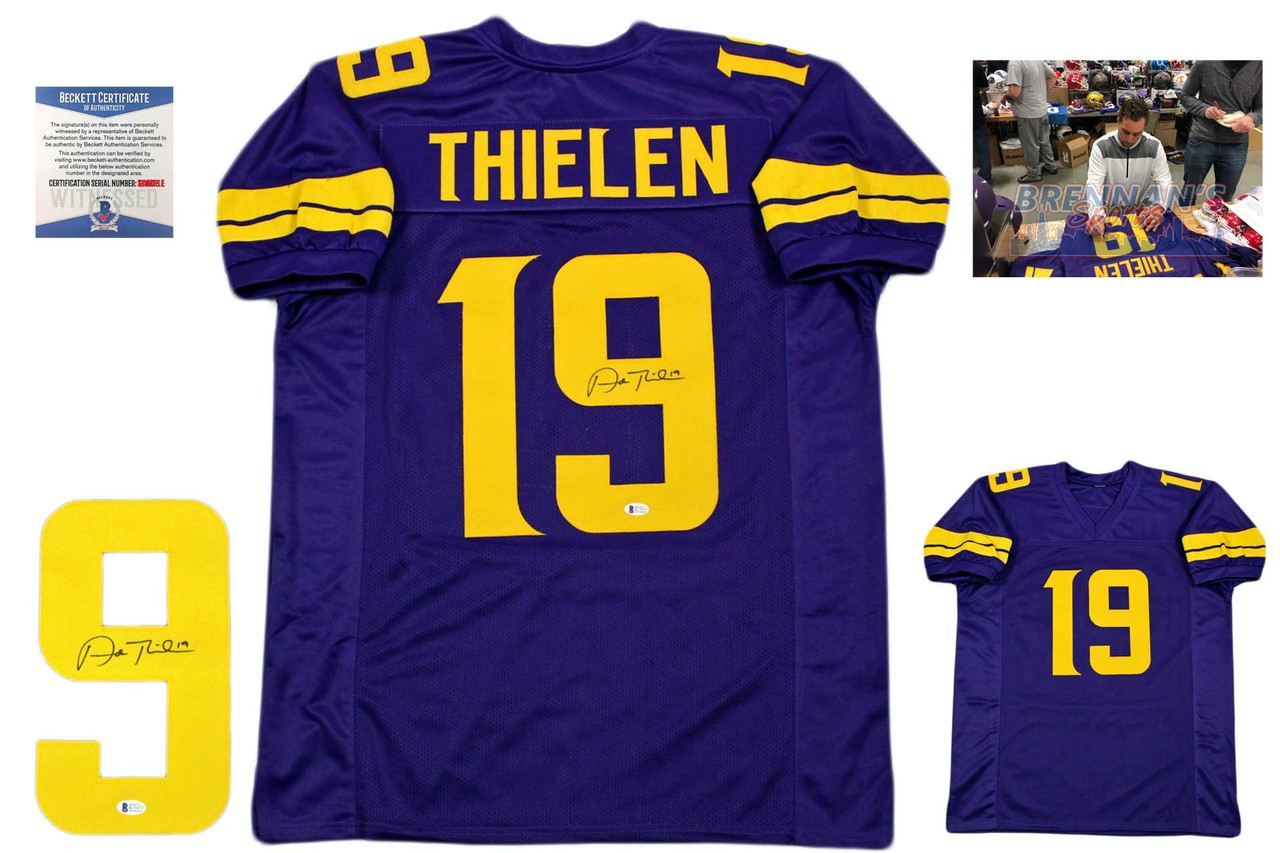 new product 86fb9 828d9 Adam Thielen Signed Jersey - Beckett Authentic - Color Rush