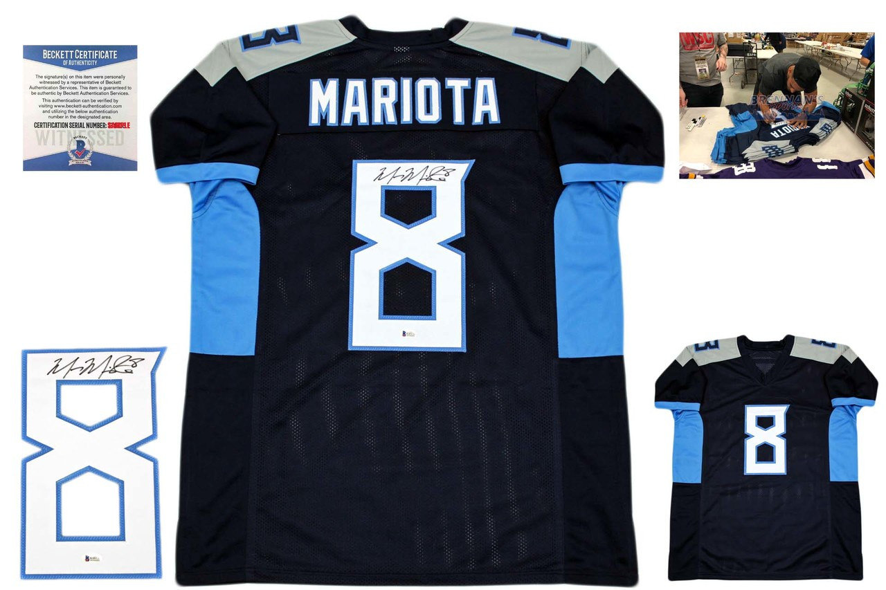 quality design 0b8cf 6aa33 Marcus Mariota Autographed Jersey - Beckett Authenticated - Navy - 2018