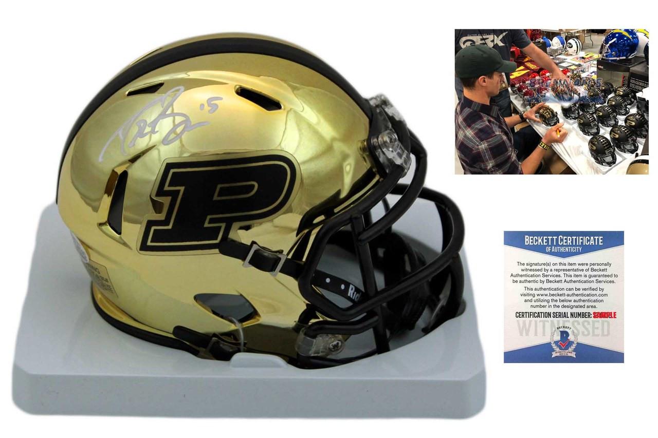17251720c89 Drew Brees Signed Purdue Boilermakers Chrome Mini Helmet - Beckett ...