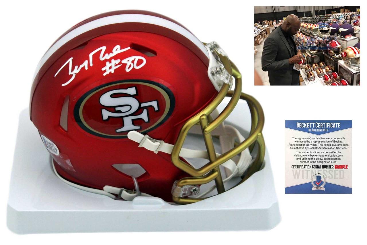 db5c60d38 Jerry Rice Autographed SIGNED 49ers Blaze Mini Helmet - Beckett ...