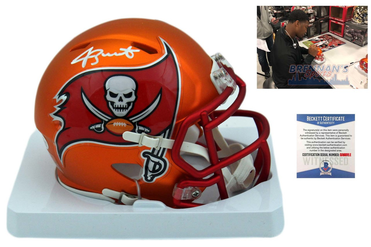 1d4a458a Jameis Winston Autographed SIGNED Buccaneers Blaze Mini Helmet - Beckett