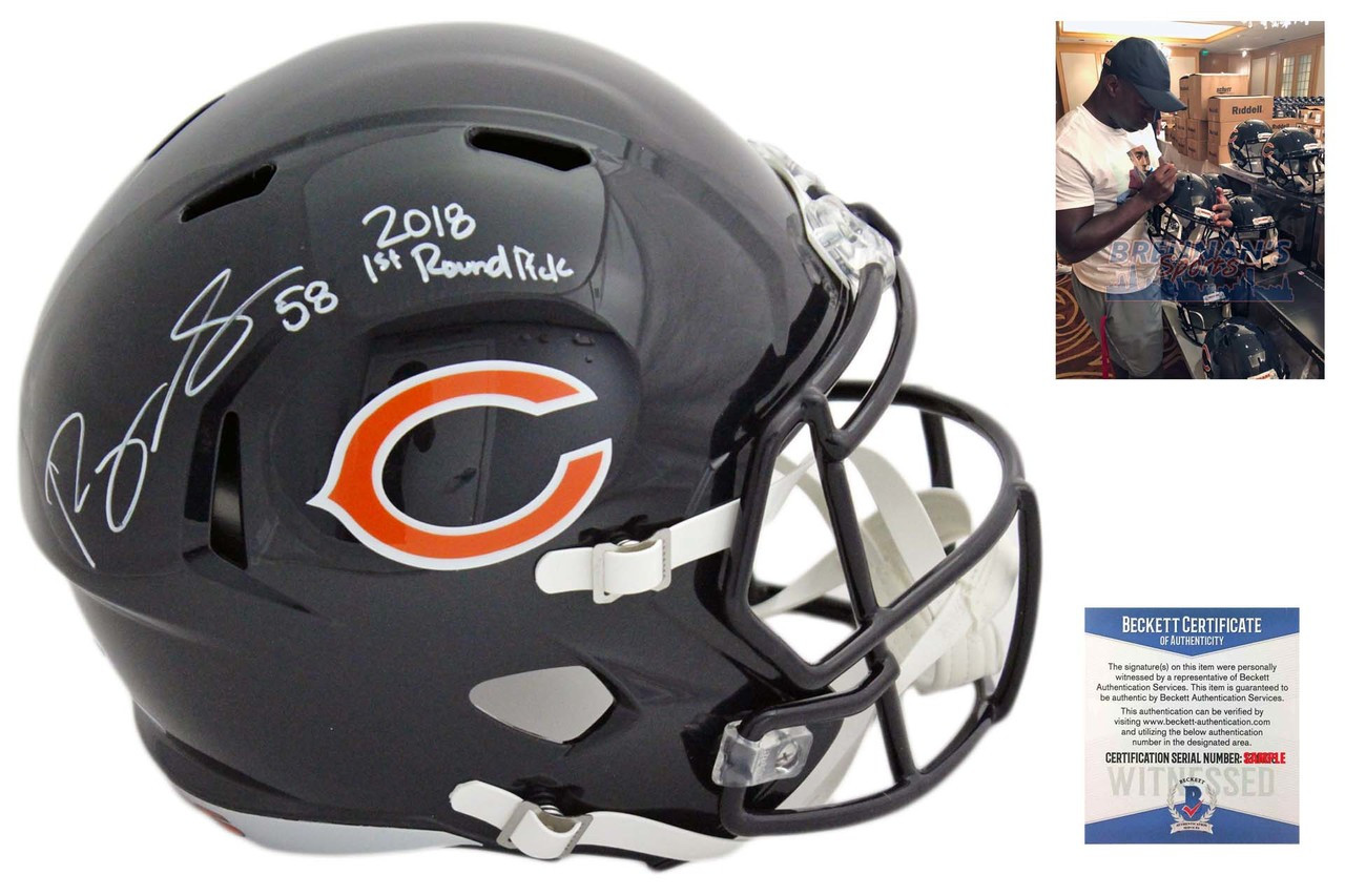 sneakers for cheap 28737 13bea Roquan Smith Autographed Signed Chicago Bears Speed Rep Helmet - Beckett  Authentic