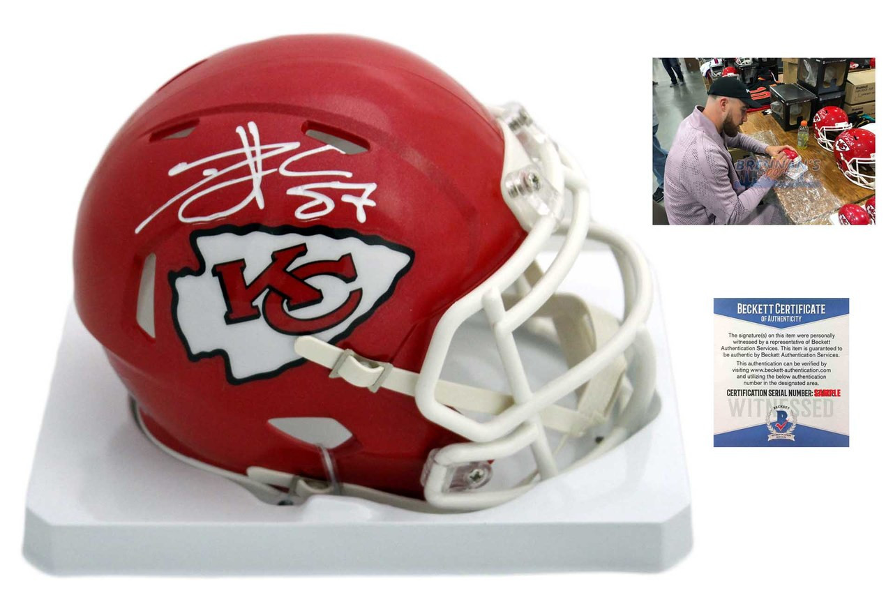 1b27e7fd7 Travis Kelce Autographed SIGNED Kansas City Chiefs Speed Mini Helmet ...