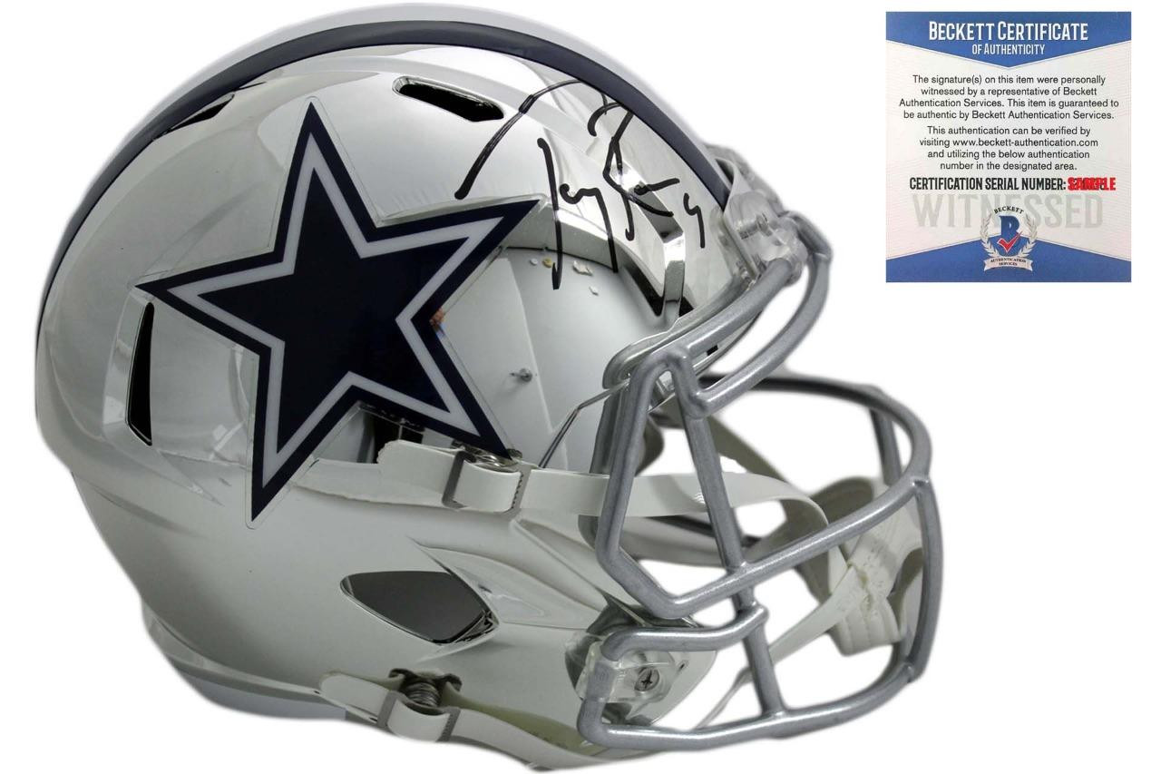 fd43c74148b Tony Romo Autographed Cowboys Speed Chrome Helmet - Beckett ...