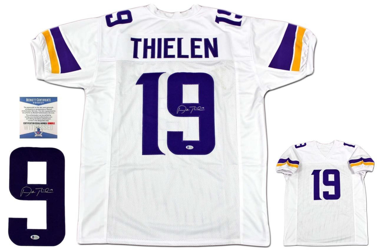 check out 0cc1e 2b01d Adam Thielen Autographed Jersey - Beckett Authentic - White