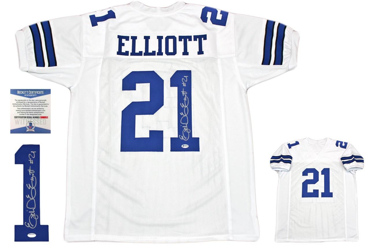 Ezekiel Elliott Autographed Signed Jersey - White - Beckett Authentic
