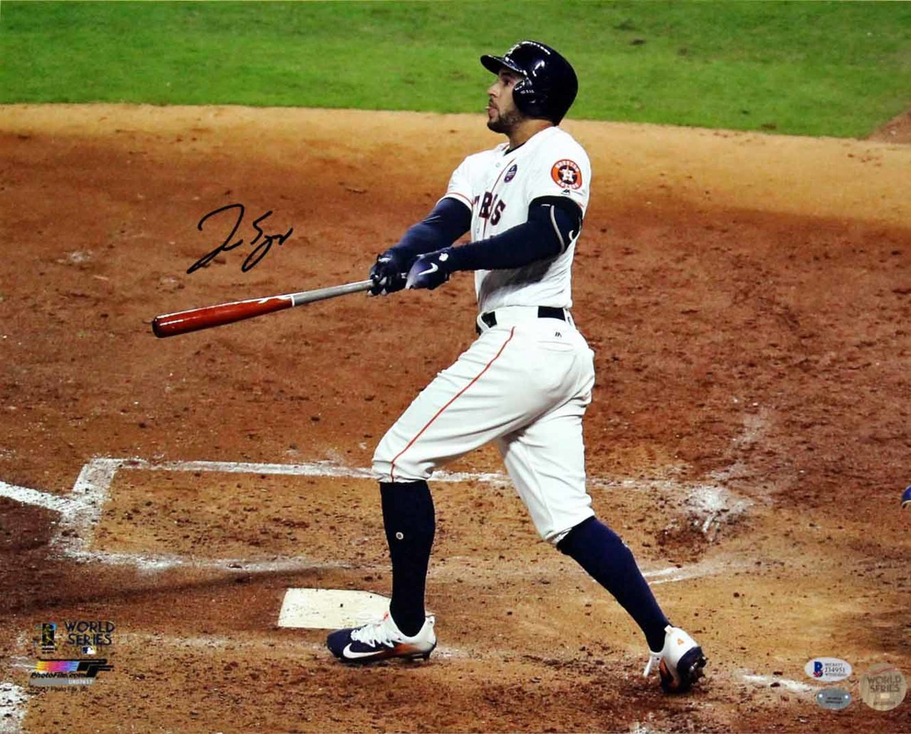 91325b6368a George Springer Signed 16x20 World Series Photo - Beckett ...