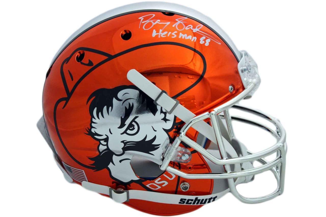 low priced 17867 ddbf7 Oklahoma State Cowboys Barry Sanders Autographed Chrome Helmet - Beckett -  Heisman