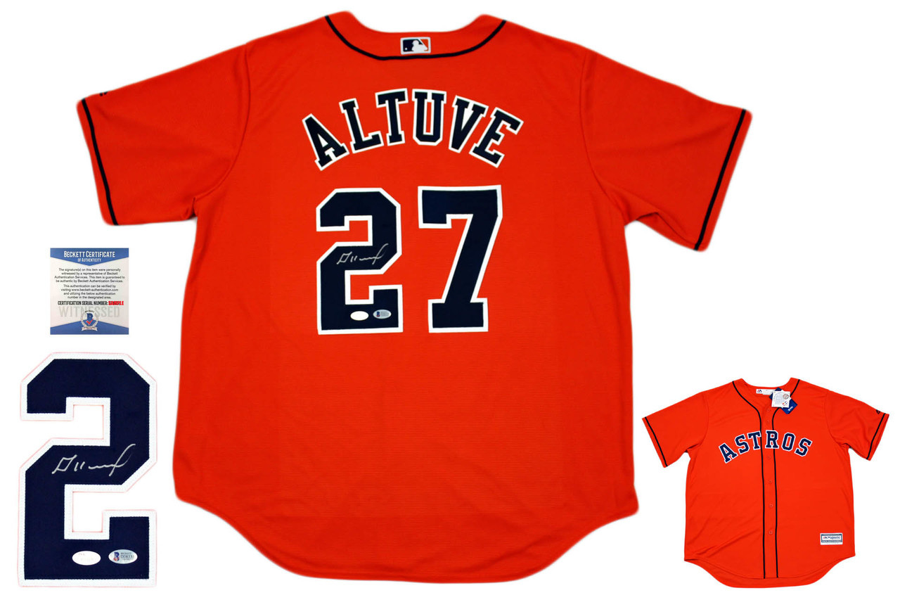 outlet store 740f9 b5229 Houston Astros Majestic Jose Altuve Autographed Jersey - ORG - Beckett  Authentic