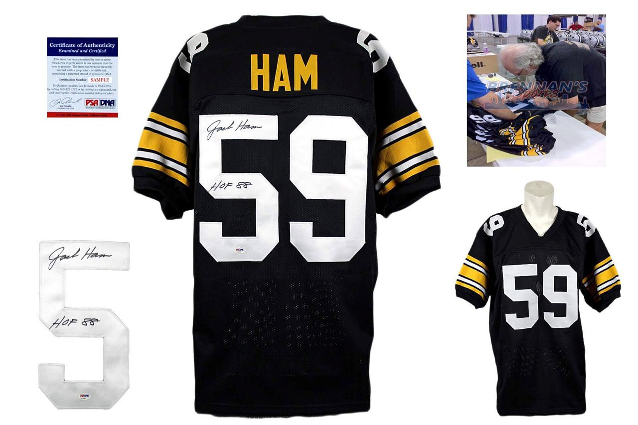 arrives 38199 3e912 Jack Ham Autographed Signed Jersey - Black - PSA DNA Authentic