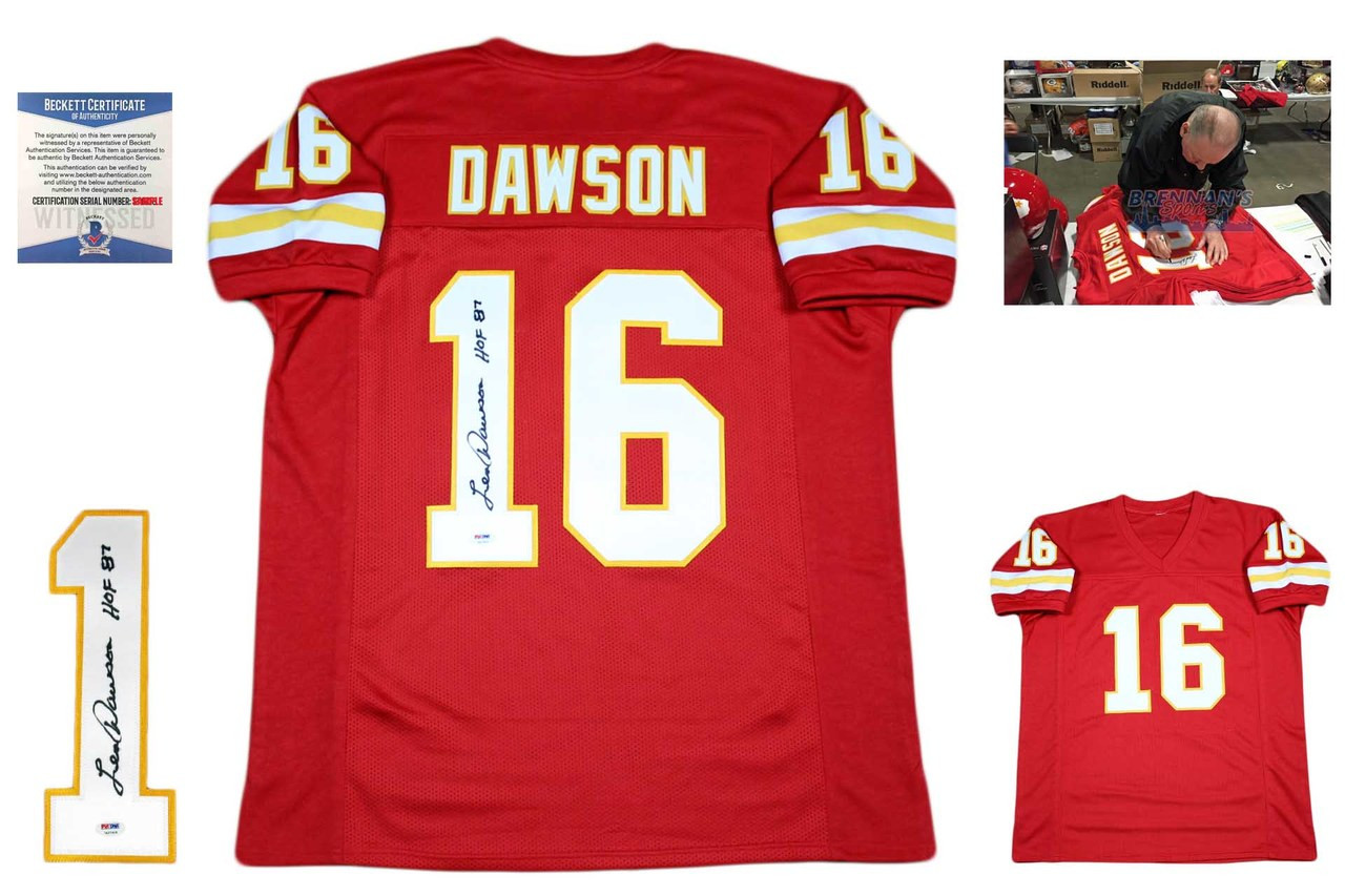 13038d29cbc Len Dawson Autographed Signed Jersey - Red - Beckett Authentic ...