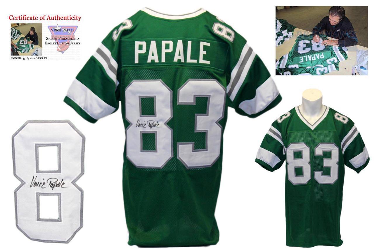 fe54e401954 ... Vince Papale Signed Green Jersey - Philadelphia Eagles Autograph ...