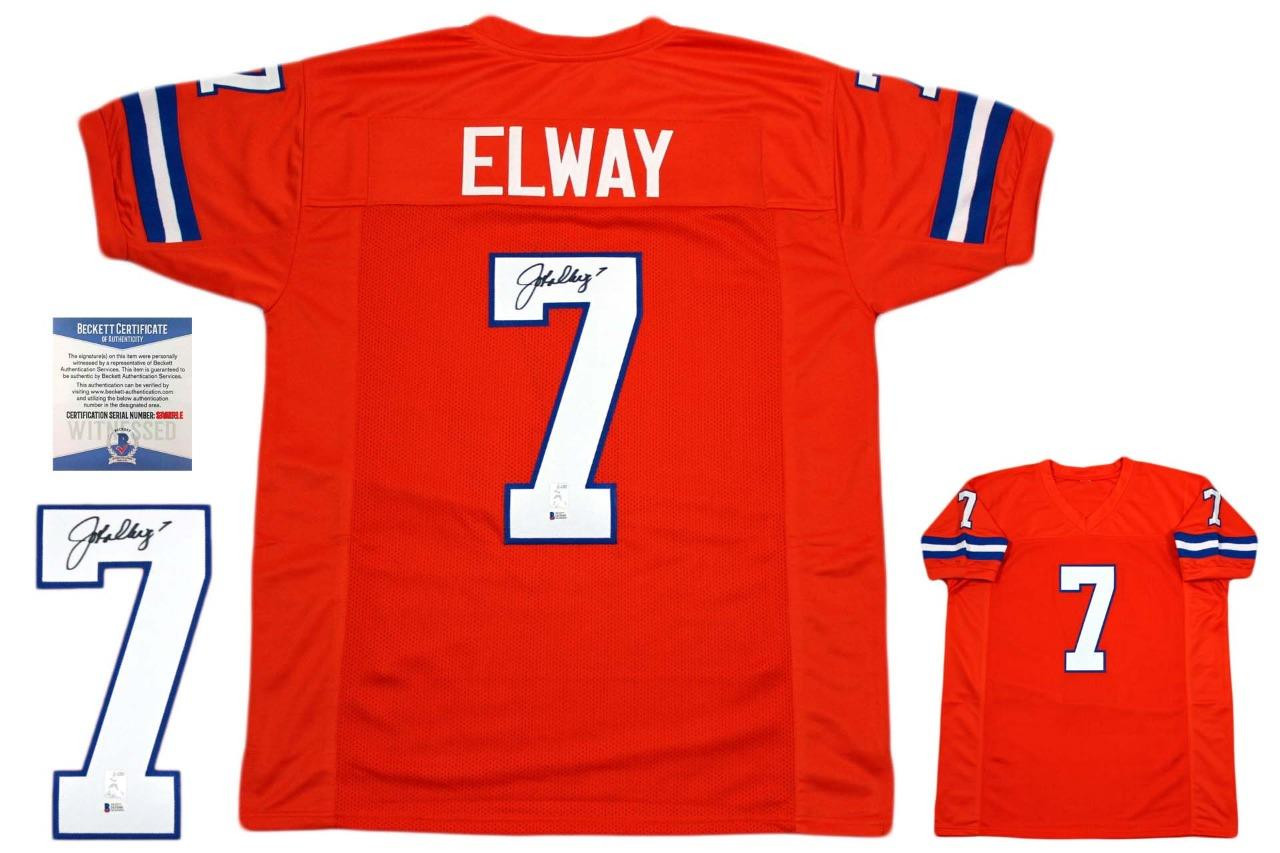 online retailer 8ea90 729c3 John Elway Autographed Jersey - Beckett Authentic - Orange Crush