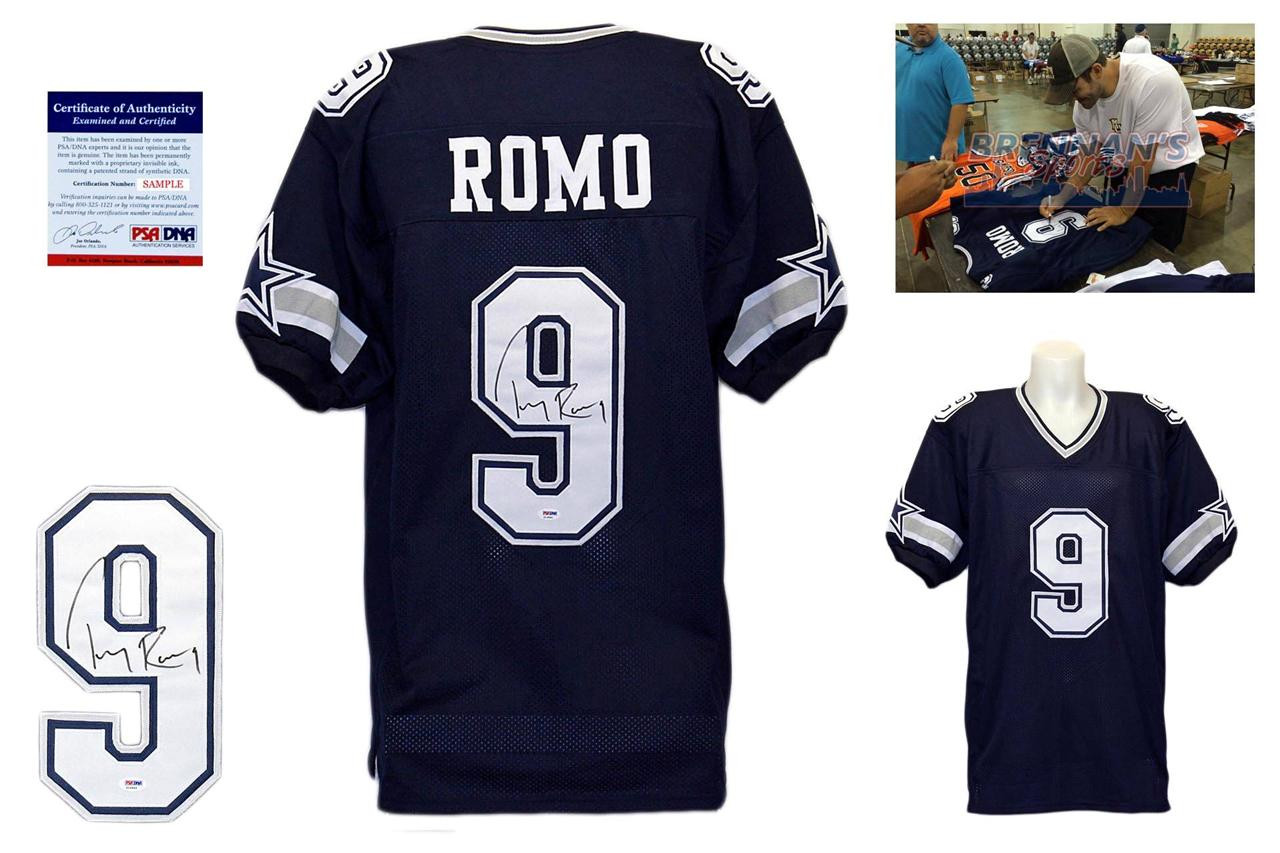 07095efd Tony Romo Signed Jersey - PSA DNA - Dallas Cowboys Autographed - Navy