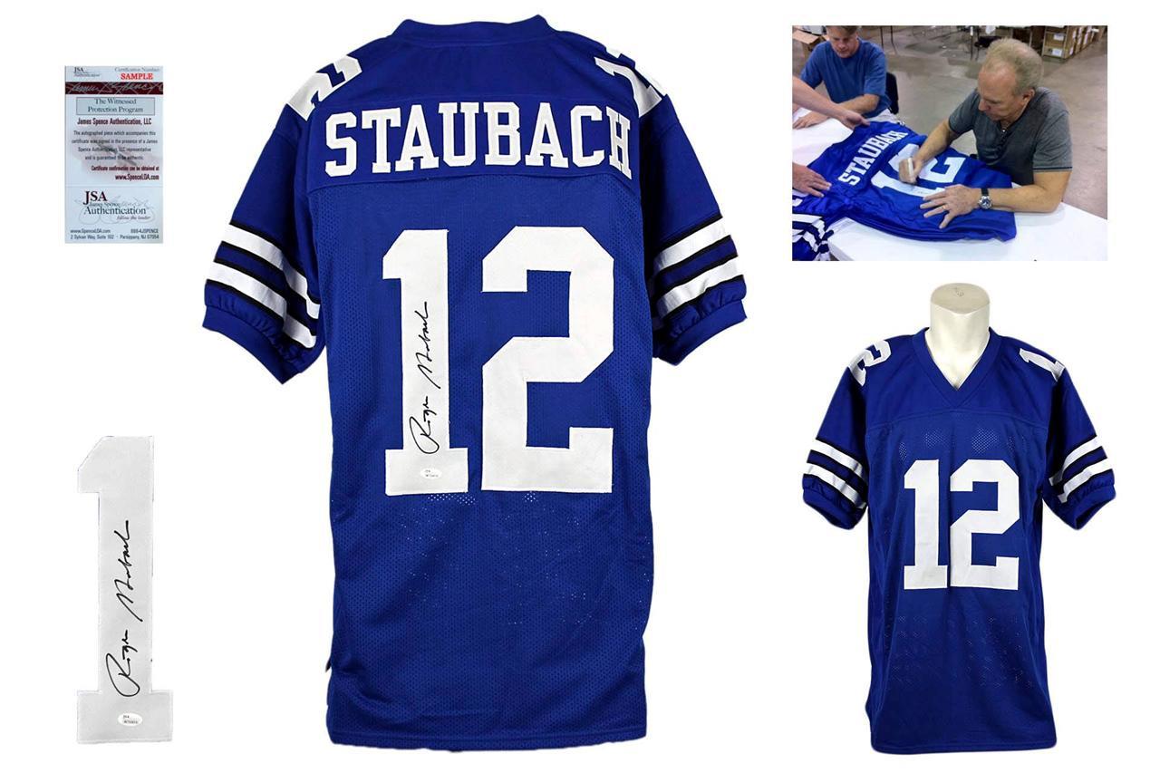 buy popular 43434 65c75 Roger Staubach Signed Jersey - JSA Witness - Dallas Cowboys Autographed -  Royal