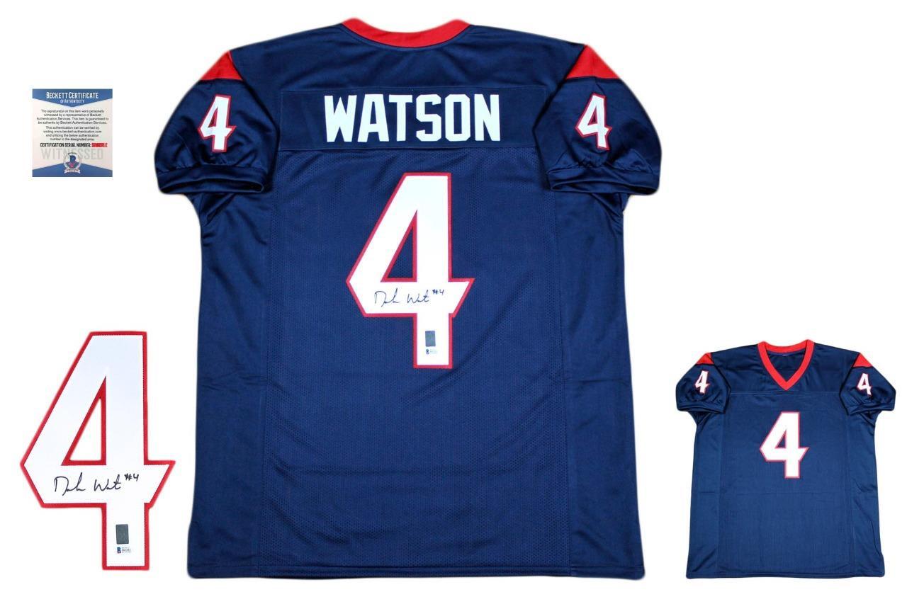 725b4fa3e Deshaun Watson Autographed Signed Jersey - Navy - Beckett Authentic ...