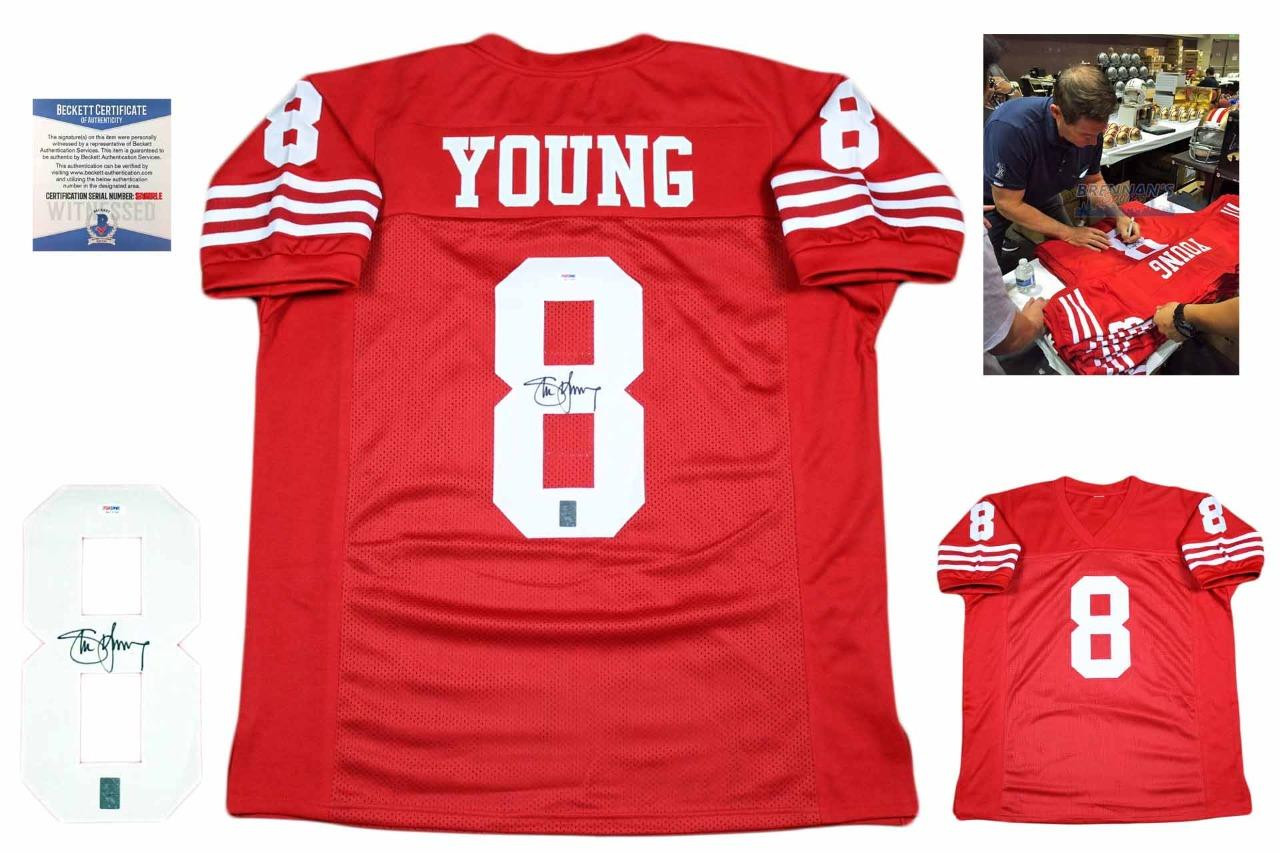 super popular e8299 4d3bb Steve Young Autographed Signed Jersey - Beckett Authentic - Red