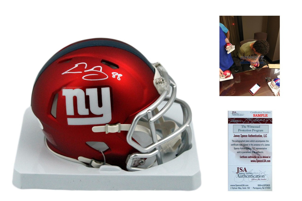 Evan Engram Autographed Signed New York Giants Blaze Mini Helmet ... 60053da95