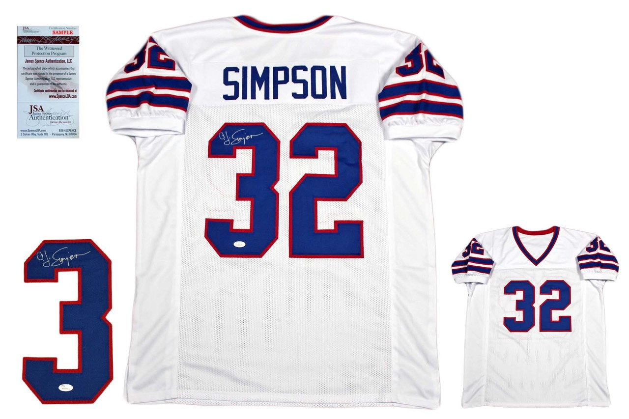 0be76980a19 OJ Simpson Autographed Signed Jersey - JSA Witnessed - White ...