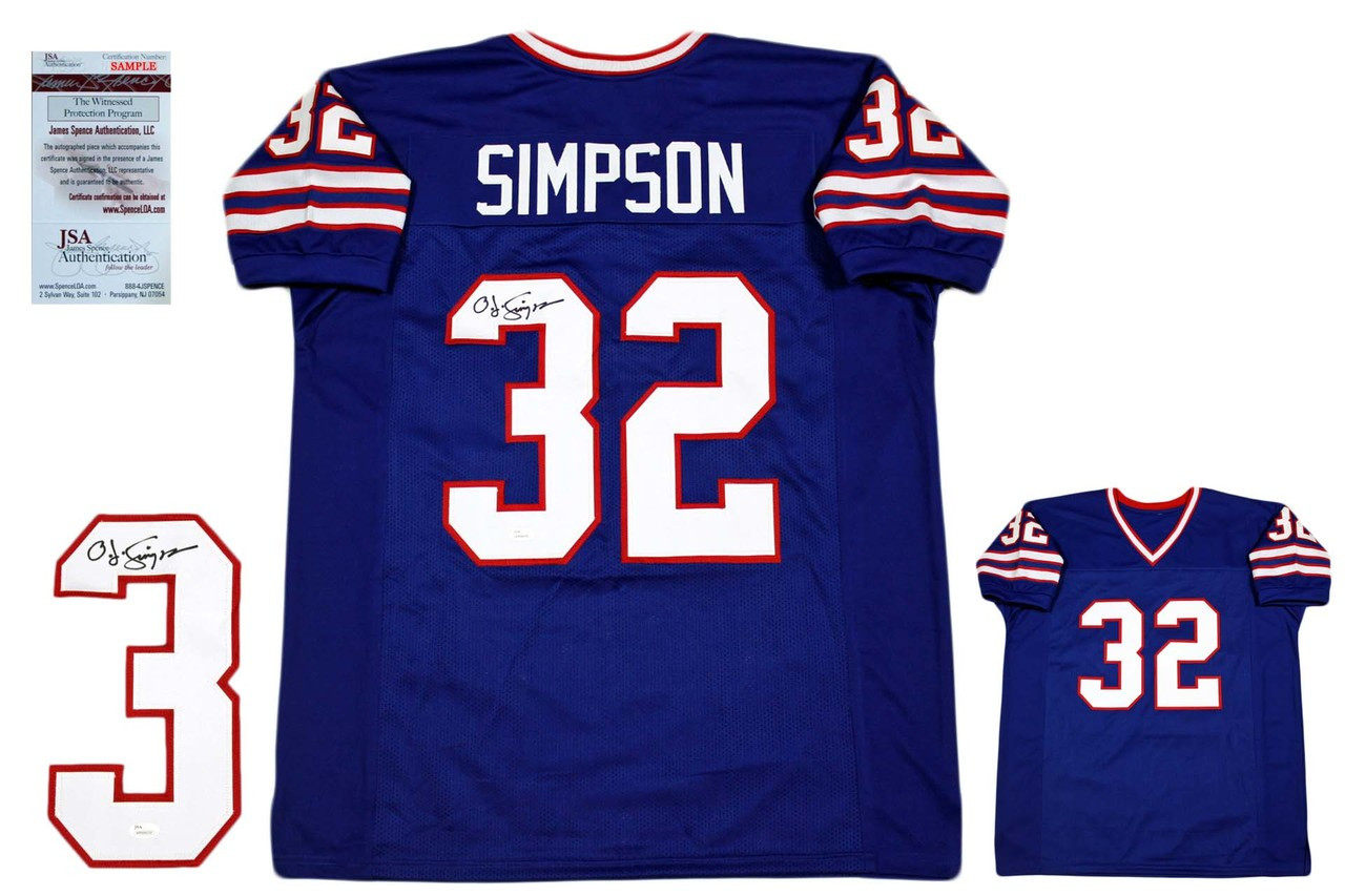 OJ Simpson Autographed Signed Jersey - JSA Witnessed - Royal