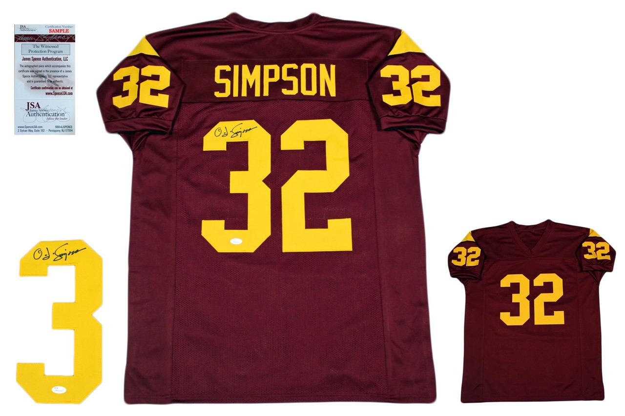 best authentic 37a6a 58224 OJ Simpson Autographed Signed Jersey - JSA Witnessed - Burgundy