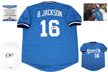 Bo Jackson Autographed Signed Baseball Jersey - Beckett Authentic - Baby Blue
