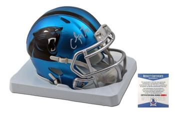 Christian McCaffrey Autographed Carolina Panthers BLAZE Speed Mini Helmet