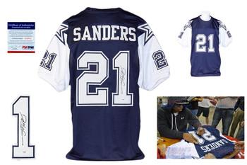 Deion Sanders Autographed Signed Dallas Cowboys Navy Jersey JSA Witness